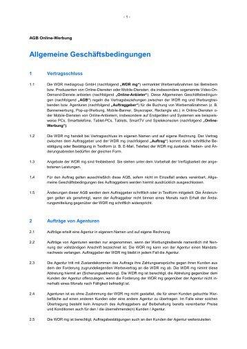 Allgemeine Geschäftsbedingungen - WDR mediagroup