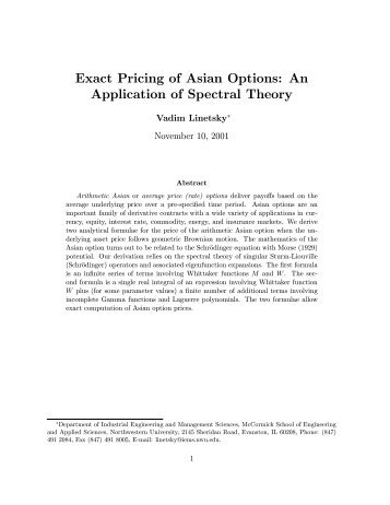 Option pricing research paper