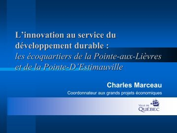 L'innovation au service du développement durable - Québec ...