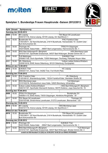 Spielplan 1. BL Langversion - Handball Bundesliga Frauen