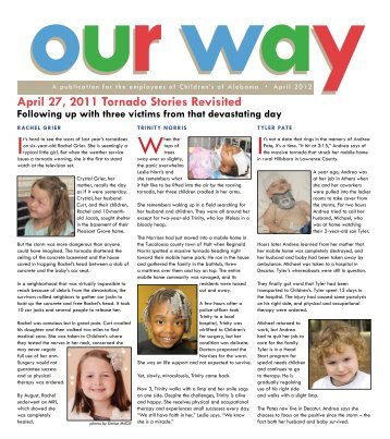 april 27, 2011 tornado stories Revisited - Children's of Alabama