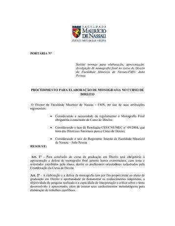 Portaria Monografia 2013. 1 - Curso de Direito da Faculdade ...
