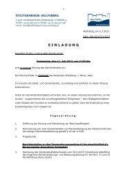 Einladung zur Sitzung des Gemeinderates 11. 07. 2013 - Wolfsberg