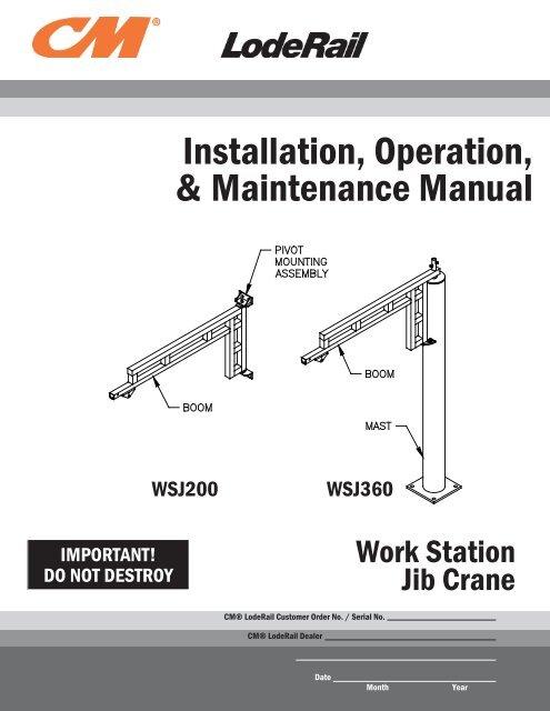 Work Station Jib Crane Manual 2011 Current Columbus