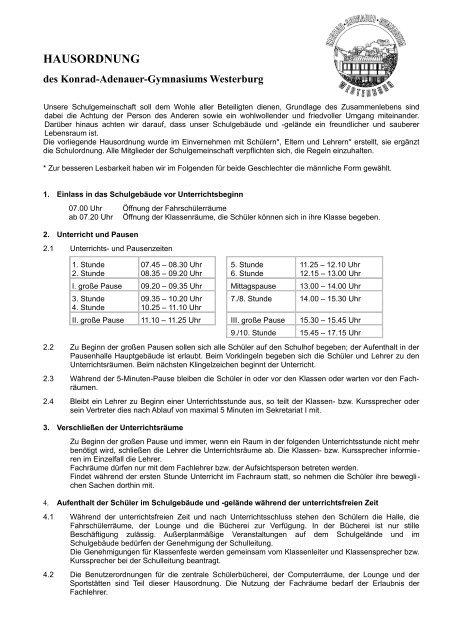 Konrad adenauer gymnasium westerburg