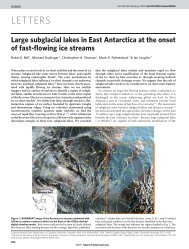 Large Subglacial Lakes in East Antarctica at the Onset of Fast ...