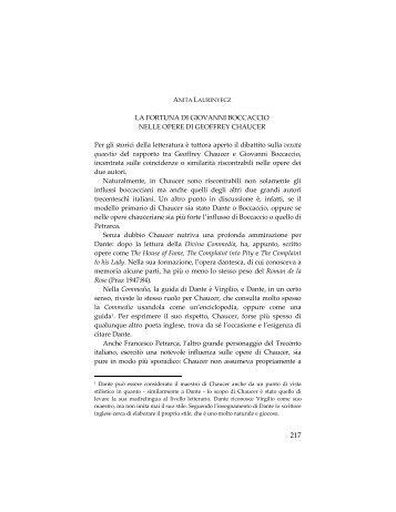 LA FORTUNA DI GIOVANNI BOCCACCIO NELLE OPERE DI ...
