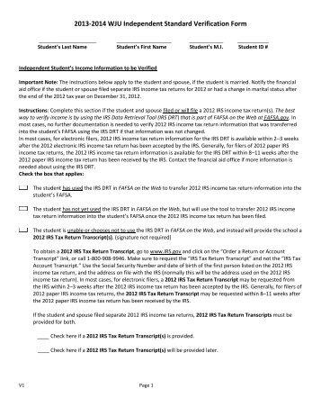 V1 - Standard Verification Worksheet