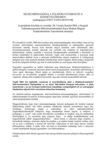 """""""Művészettörténeti Önképzőkör Időseknek"""" /PDF - Herman Ottó ..."""