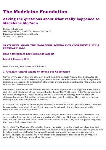 5) 2nd February 2010 - The Madeleine Foundation