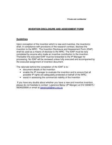 Invention Disclosure Form in Acrobat (.pdf) - Michael N. Haynes, PLC