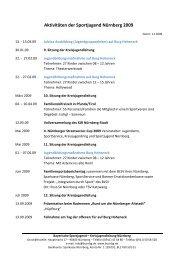 Aktivitäten der Sportjugend Nürnberg 2009 - Bayerische ...