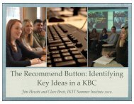 The Recommend Button: Identifying Key Ideas in a KBC