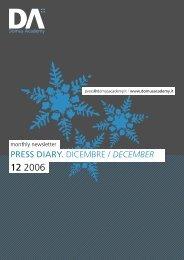 PRESS DIARY. DICEMBRE / DECEMBER - Andrea Granelli