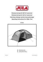 Bruksanvisning för tält för 2 personer Bruksanvisning for telt ... - Jula