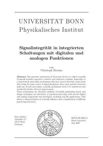 Signalintegrität in integrierten Schaltungen mit digitalen und ...