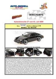 MINICHAMPS NEWS FLASH für KW 27 vom 03.07.2009