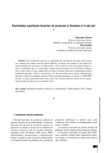 Elasticitatea substitutiei factorilor de productie in Romania si in alte tari