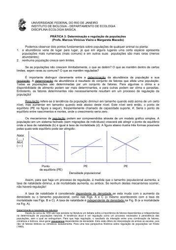 Regulação populacional - Instituto de Biologia da UFRJ