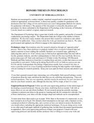 Honors Thesis Instructions - Psychology - The University of ...