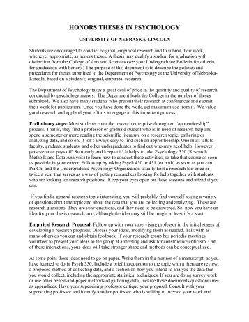 thesis prospectus unl