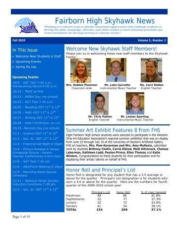 Fairborn High School Newsletter - Fairborn City Schools