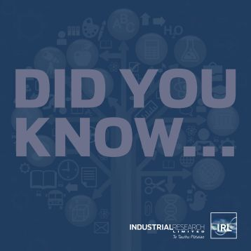 Did You Know booklet - Industrial Research Limited