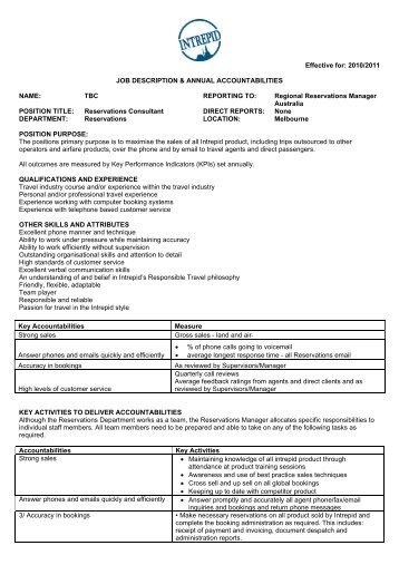 Operations Manager   Job Description   Intrepid Travel