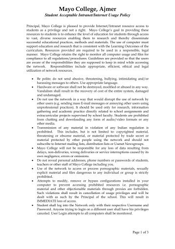 Student Acceptable Intranet/Internet Usage Policy - Mayo College