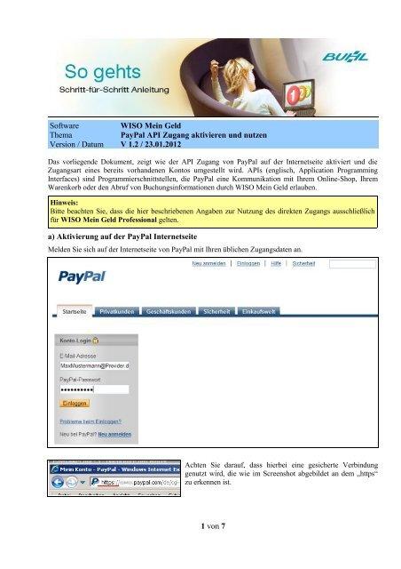Paypal Zugang