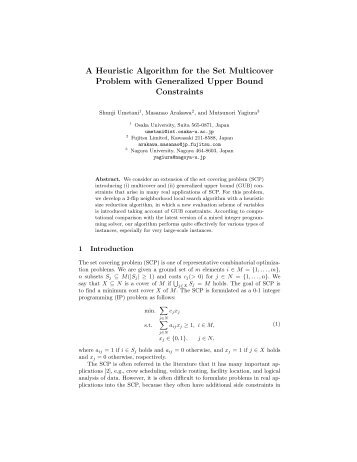 A Heuristic Algorithm for the Set Multicover Problem with ...