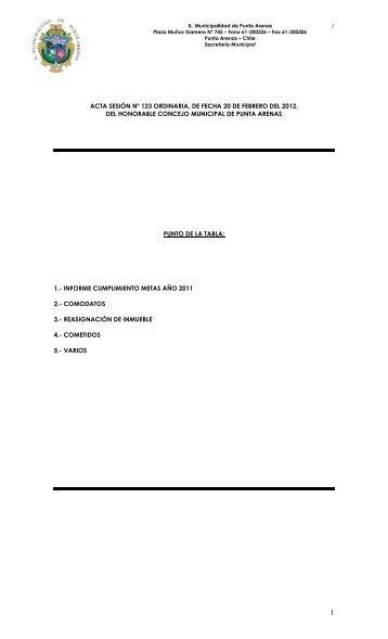 acta sesión nº 123 ordinaria, de fecha 20 de febrero del 2012, del ...