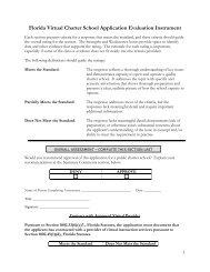 Florida Virtual Charter School Application Evaluation Instrument