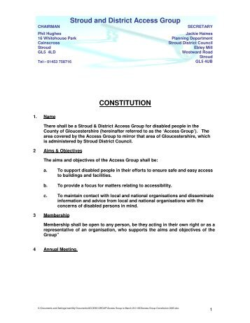 Access Group Constitution 2005 - Stroud District Community ...
