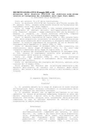 DECRETO LEGISLATIVO 30 maggio 2005, n.140 - Servizio Centrale