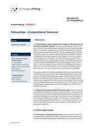 "Fellowships ""Computational Sciences"" - VolkswagenStiftung : Seite ..."