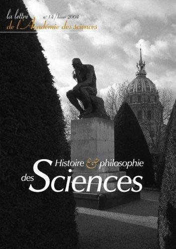 Histoire et philosophie des sciences - La Lettre n°14 - Académie des ...