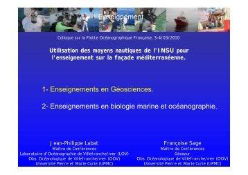 Enseignement 1- Enseignements en Géosciences. 2 ...