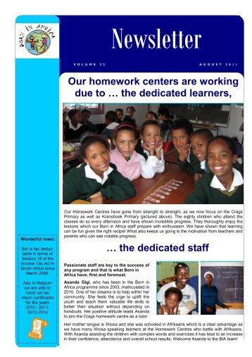 Born in Africa newsletter Aug 2011  English ... - Helloplett.co.za