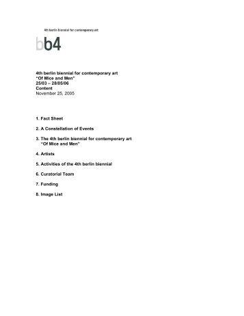 1st Press kit (announcement of the artists) - 4. Berlin Biennale