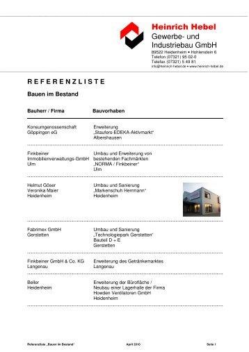 Referenzliste Bauen im Bestand - Heinrich Hebel