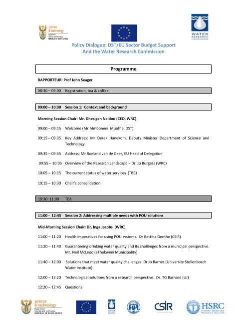 Programme for Water dialogue 2 October 2012 final