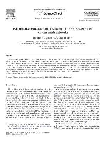 Performance evaluation of scheduling in IEEE 802.16 ... - CiteSeerX