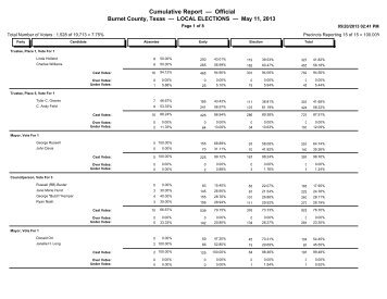 2013 may 11 local elections official results - Burnet County