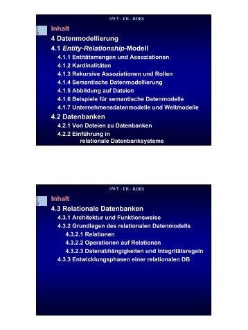 Inhalt 4 Datenmodellierung 4.1 Entity-Relationship-Modell 4.2 ...