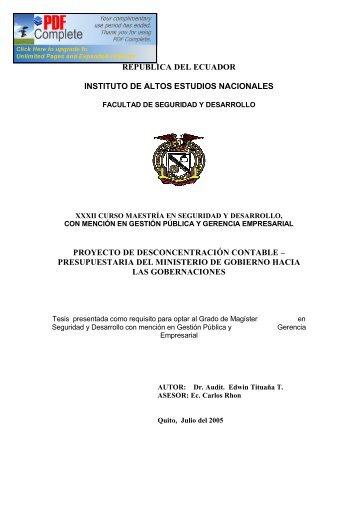Responsable - Repositorio Digital IAEN - Instituto de Altos Estudios ...