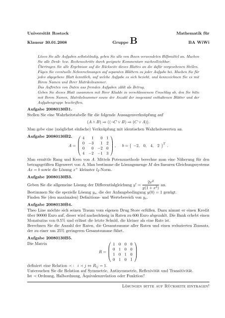 Universität Rostock Mathematik für Klausur 30.01.2008 Gruppe B ...