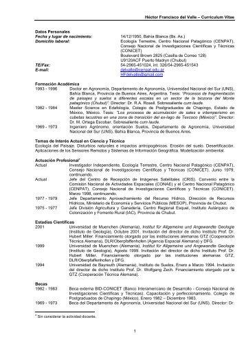 Héctor Francisco del Valle – Curriculum Vitae 1 Datos Personales ...
