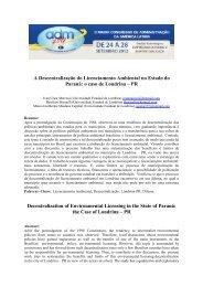 A Descentralização do Licenciamento Ambiental no Estado do Paraná