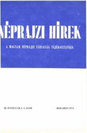 A magyar néprajztudomány bibliográfiája 1973 ... - Néprajzi Múzeum